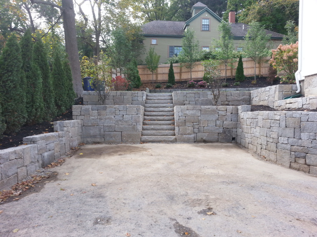 Completed granite wall with granite steps