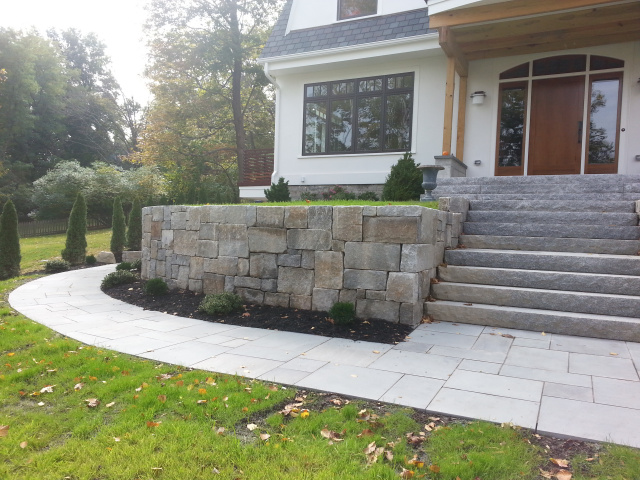 Granite walkway and entrance steps to house.  Newton MA